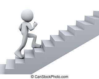 3d, 人ランニング, 上に, 階段