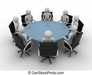 3d, 人们, -, 会议, 在后面, a, 绕行, 桌子。, 3d, image., 隔离