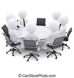 3d, 人们, 在, the, 绕行, 桌子。, 一, 椅子, 是, 空