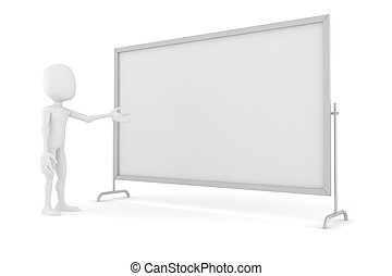 3d, 人間が立つ, 近くに, a, ブランク, 板, プレゼンテーション