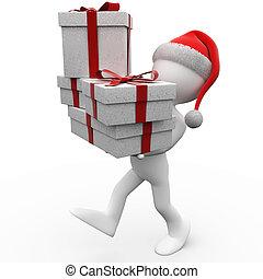 3d, 人類, 由于, a, 聖誕老人帽子