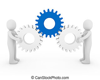 3d, 人類, 齒輪, 藍色, 白色