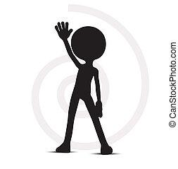 3d, 人, ∥で∥, 1(人・つ), 上がる 手
