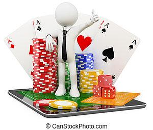 3d, 人, -, カジノ, オンラインで, ゲーム