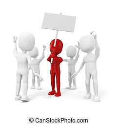 3d, 人, -, グループ, の, 抗議する, 人々