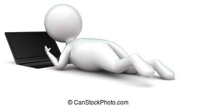 3d, 人, ラップトップを使用して, 間, 床の上に横たわる, 概念