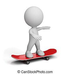 3d, 人, 上に, スケートボード