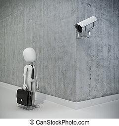 3d, 人, 商人, 以及, 安全照像机