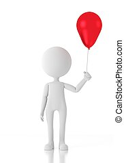 3d, 人, 子供, 保有物, a, 赤い風船