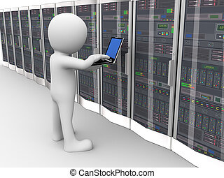 3d, 人, 工作, 數据, 服務器空間