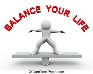 3d, 人, -, 平衡, 你, 生活