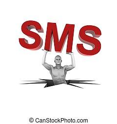 3d, 人, 持ち上がること, sms