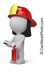 3d, 人, -, 消防士
