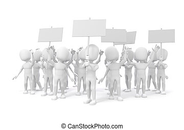 3d, 人, -, 組, ......的, 抗議, 人們