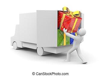 3d, 人, 荷を下しなさい, 自動車, ∥で∥, 贈り物