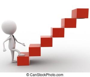 3d, 人, 進入, 立方, 樓梯, 概念