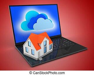 3d, 便携式计算机, 同时,, 房子