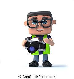 3d, 保健及び安全性, 労働者, 取得, 写真, ∥で∥, 彼の, カメラ