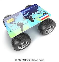 3d, 信用卡, 由于, 輪子