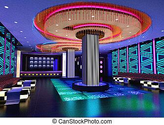 3d, 俱樂部, 大廳, 走廊