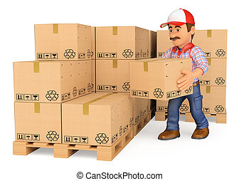 3d, 倉庫保管員, 堆積, 箱子, 在, a, 倉庫