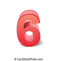 3d, 光沢がある, 数, 赤, 6
