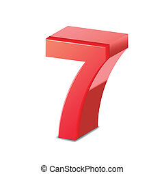 3d, 光沢がある, 数7, 赤