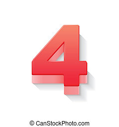 3d, 光沢がある, 4, 赤, 数