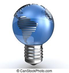 3d, 全球, 能量, 概念