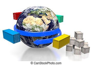 3d, 全球, 運輸, 概念