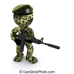 3d, 兵士, textured, ∥で∥, カモフラージュ