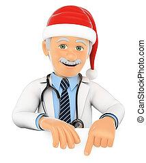 3d, 医者, 指すこと, 下方に, ∥で∥, a, サンタクロース, hat., 余白