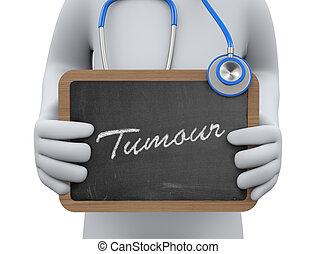 3d, 医者, 提示, 腫瘍, 黒板