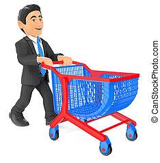 3d, 商人, 推, a, 購物車