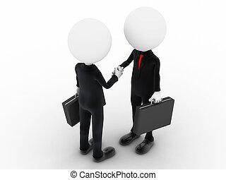 3d, 商業界人士, 握手, 在上方, a, 交易