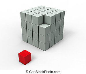 3d, 圖像, 立方, 被隔离, 在懷特上