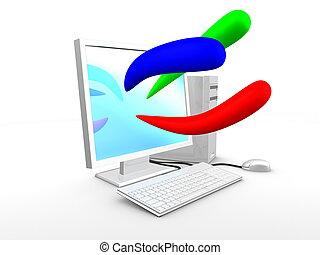 3d, 圖像, 電腦, 由于, 基本, 顏色, 藍色, 紅色, 綠色