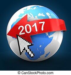3d, 地球全球, 在上方, 藍色, 背, 2017, 正文