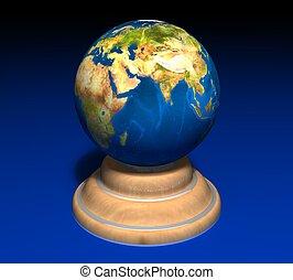 3d, 地球, 上, a, 木立場, 上, a, 藍色的背景
