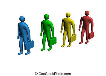 3d, 多种色彩, 人们, 握住, 公文包