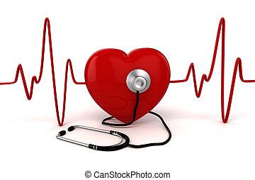 3d, 大きい, 赤い心臓, 健康 と 薬, 概念