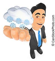 3d, 天候の人, ∥で∥, 雲, そして, snow., 降雪, 日