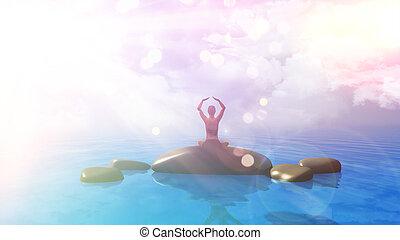 3d, 女性, 中に, ヨガの 位置, 中に, 海洋, ∥で∥, レトロ, 効果