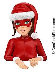 3d, 女, クリスマス, superhero, 指すこと, 下方に