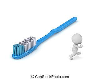 3d, 字, 跑掉, 牙刷