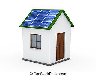 3d, 家, 太陽エネルギー, 緑