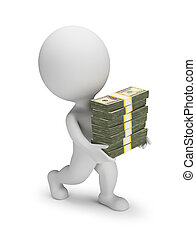 3d, -, 小さい, ドル, 人々, 山, 届く