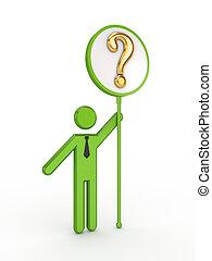 3d, 小さい, 人々, ∥で∥, 質問, シンボル。