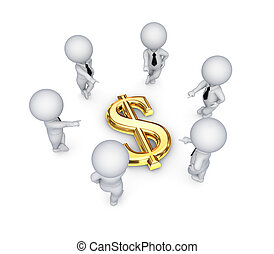 3d, 小さい, 人々, のまわり, ドル, 印。