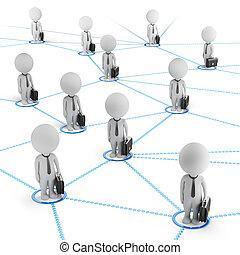 3d, 小さい, 人々, -, ビジネス, ネットワーク